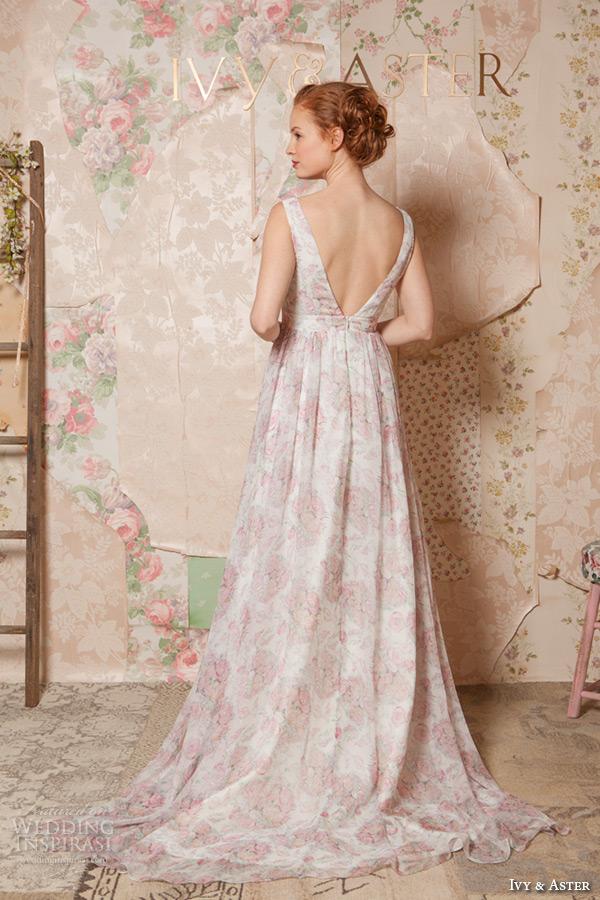 ivy and aster spring 2016 bridal deep v neck plunging neckline pink floral a line wedding dress back view