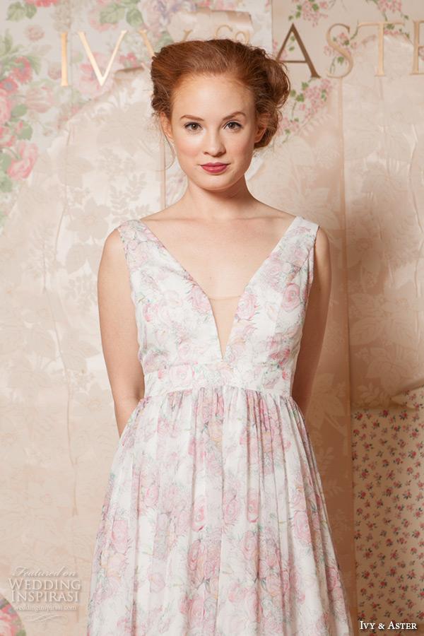 ivy and aster spring 2016 bridal deep v neck plunging neckline pink floral a line wedding dress closeup