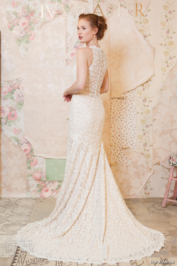 ivy and aster spring 2016 bridal halter neck floral embroidery lace modified a line wedding dress back view