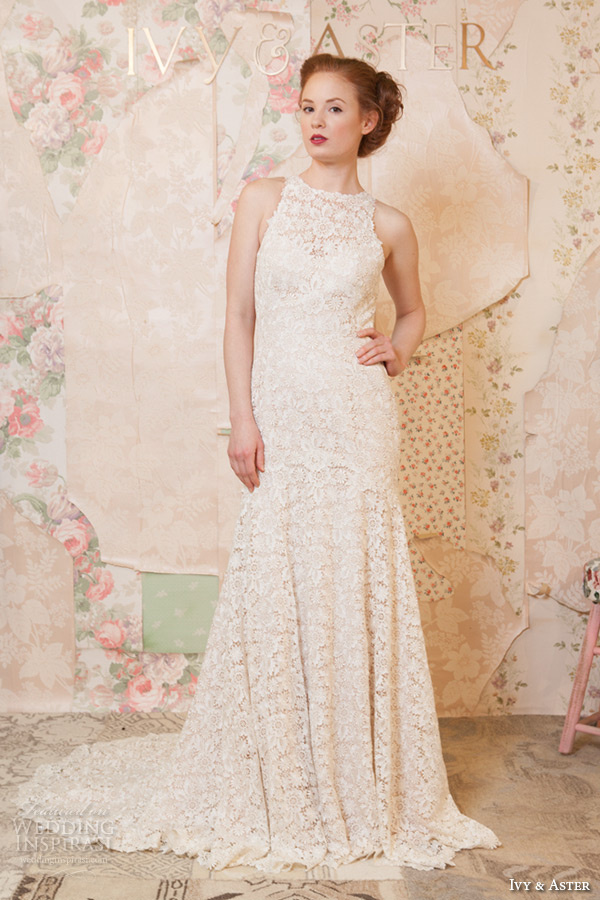 ivy and aster spring 2016 bridal halter neck floral embroidery lace modified a line wedding dress