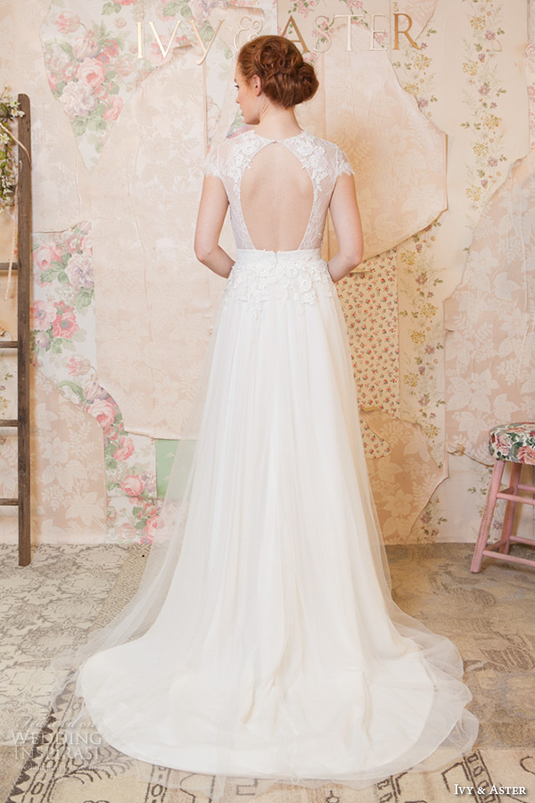 ivy and aster spring 2016 bridal jewel neckline cap sleeves floral leaf lace top tulle a line skirt wedding dress back view