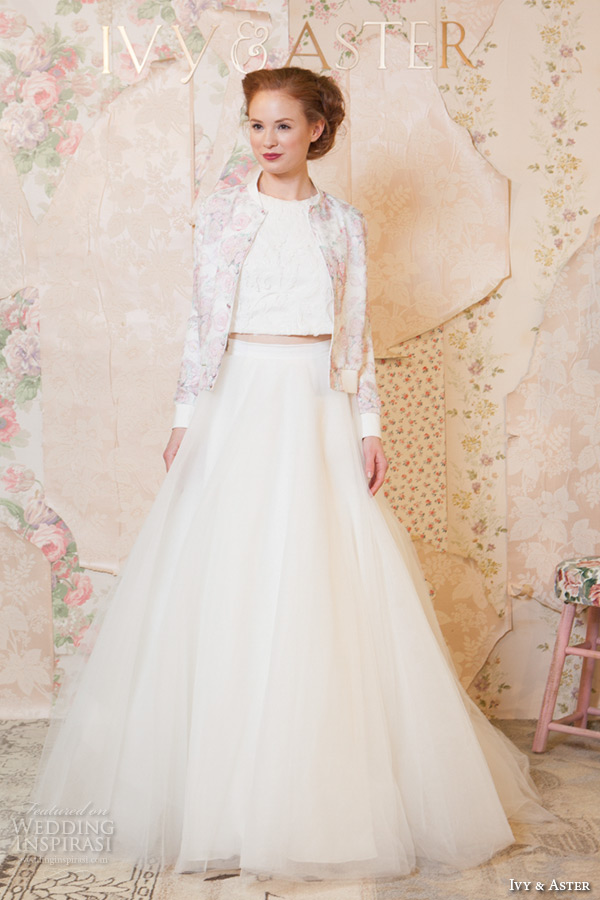 Ivy aster spring 2016 wedding dresses through the for Long sleeve wedding dress topper
