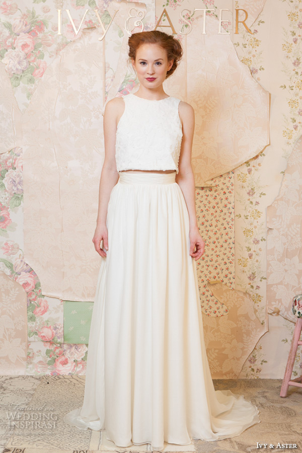 ivy and aster spring 2016 bridal jewel neckline strapless topper modified a line skirt wedding dress