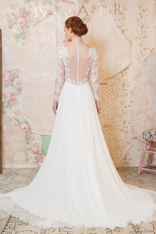 ivy and aster spring 2016 bridal long sleeves lace v neckline modified a line wedding dress back view