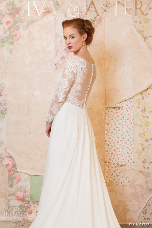 ivy and aster spring 2016 bridal long sleeves lace v neckline modified a line wedding dress side view