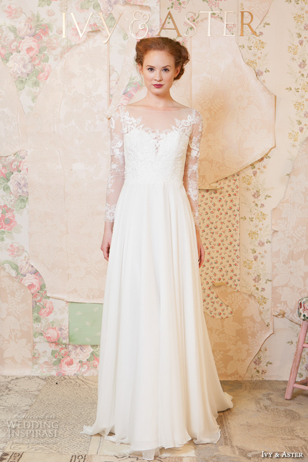 ivy and aster spring 2016 bridal long sleeves lace v neckline modified a line wedding dress