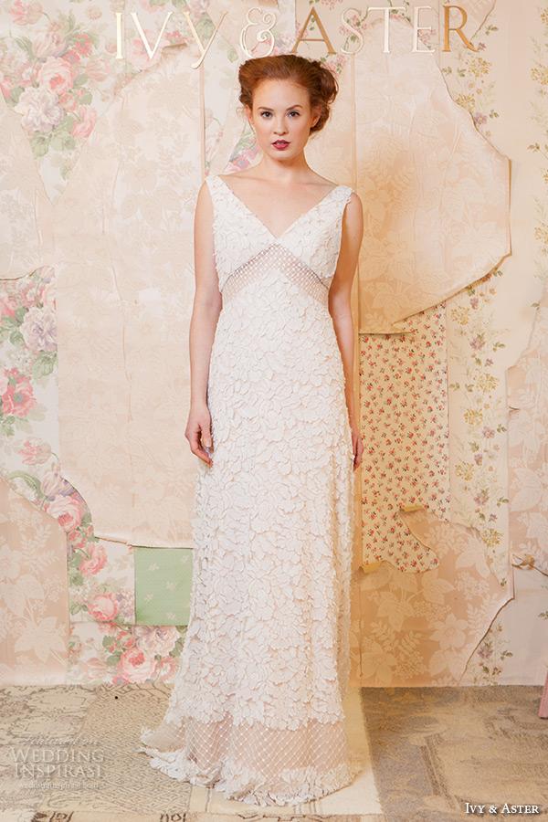 ivy and aster spring 2016 bridal sleeveless strap v neck floral leaf embroidered sheath wedding dress