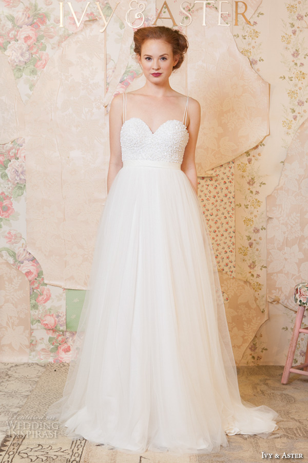 ivy and aster spring 2016 bridal spagetti strap sweetheart neckline tulle skirt a line wedding dress
