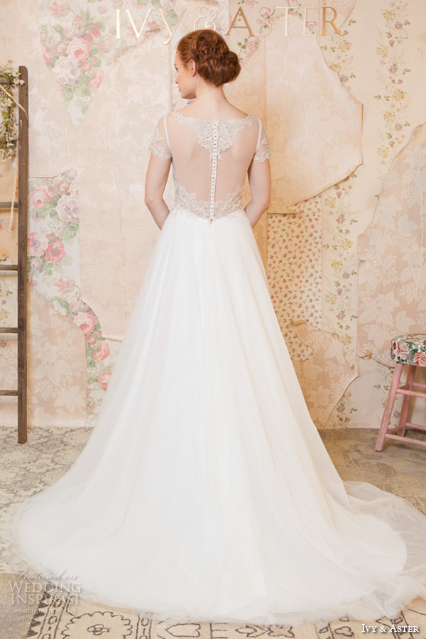 ivy and aster spring 2016 bridal square neckline bateau boat necklne short sleeves  a line wedding dress back view