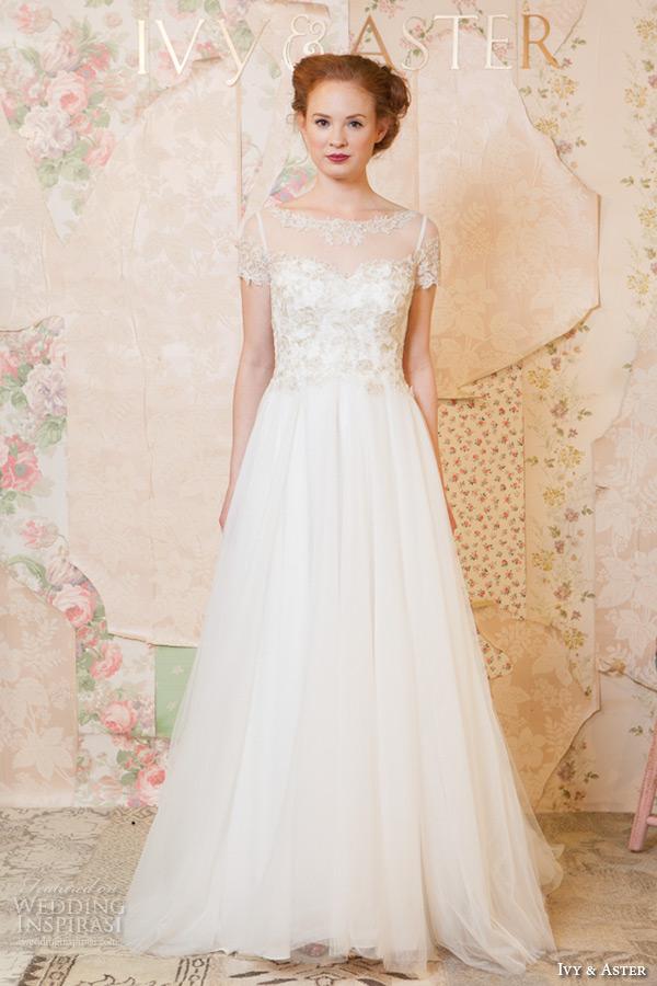ivy and aster spring 2016 bridal square neckline bateau boat necklne short sleeves  a line wedding dress
