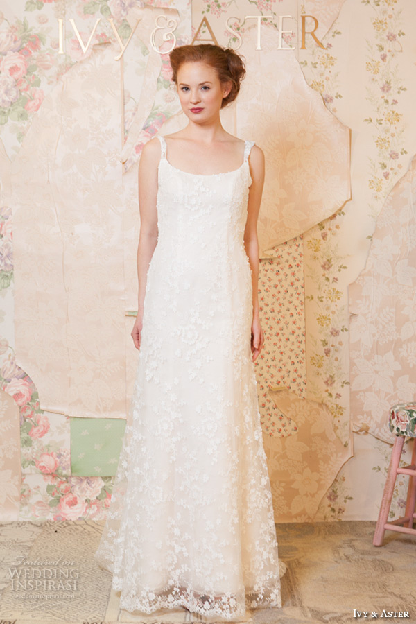 ivy and aster spring 2016 bridal square neckline strap floral lace embroidery sheath wedding dress
