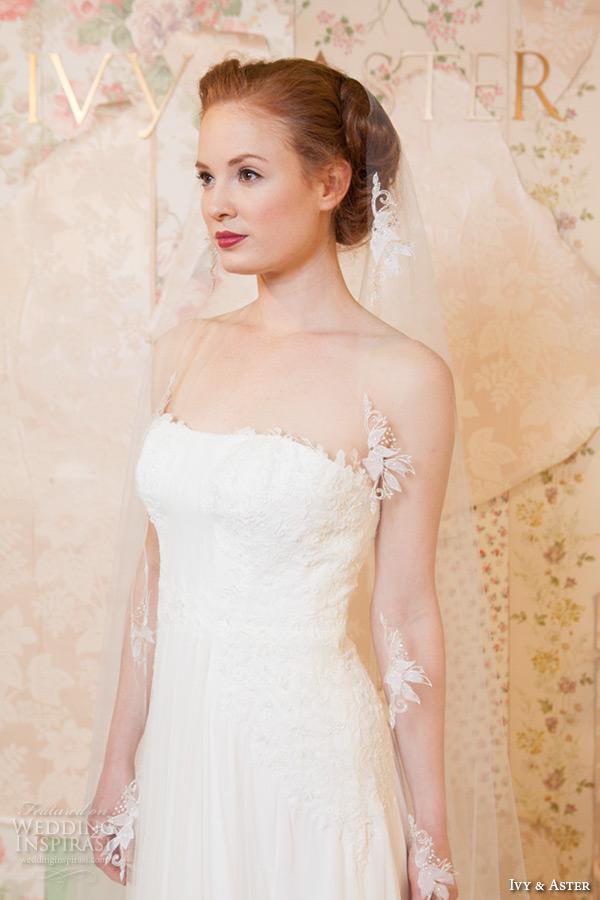 ivy and aster spring 2016 bridal strapless straight across neckline romantic sheath wedding dress closeup