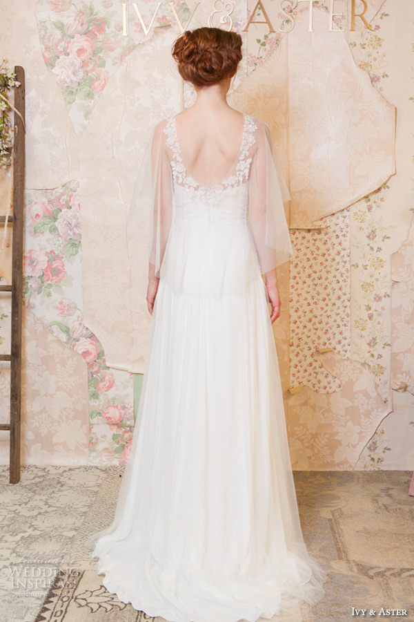 ivy and aster spring 2016 bridal strapless straight across neckline romantic sheath wedding dress with sheer topper  back view