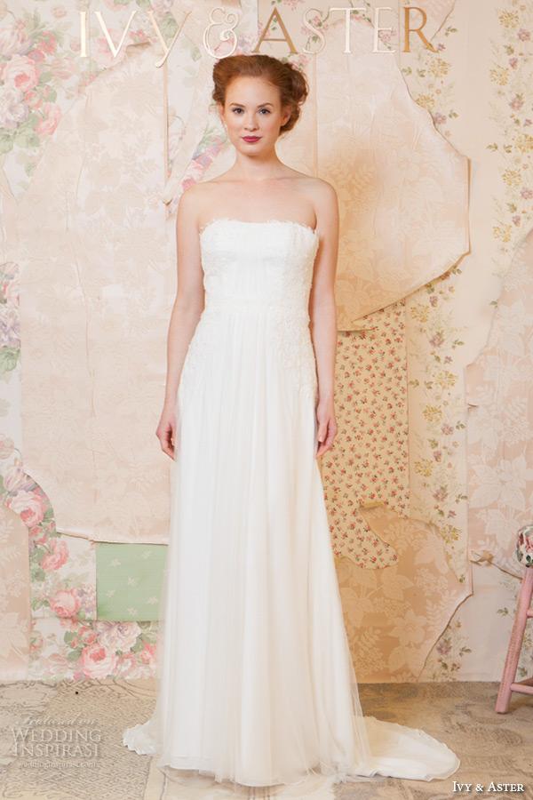 ivy and aster spring 2016 bridal strapless straight across neckline romantic sheath wedding dress