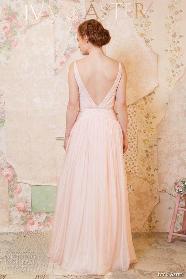 ivy and aster spring 2016 bridal strapless v neckline blush pink a line wedding dress back view