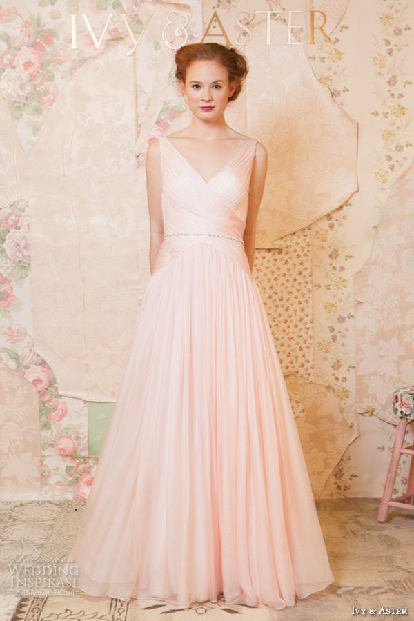 ivy and aster spring 2016 bridal strapless v neckline blush pink a line wedding dress