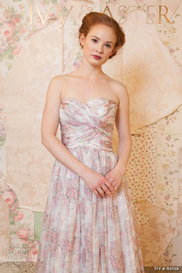 White Wedding Dress With Pink Flowers 32 Popular ivy and aster spring