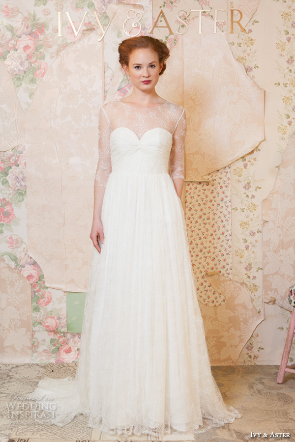 ivy and aster spring 2016 bridal three quater 3 4 sleeves sheer boat neckline sweetheart neckline modified a line wedding dress with pockets