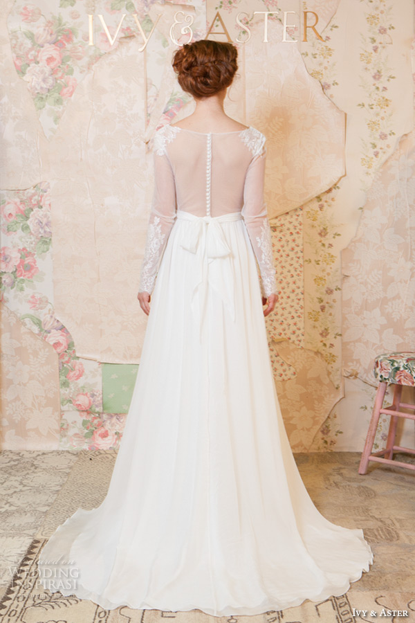 ivy and aster spring 2016 bridal v neckline sheer long sleeves lace trim modified a line wedding dress back view