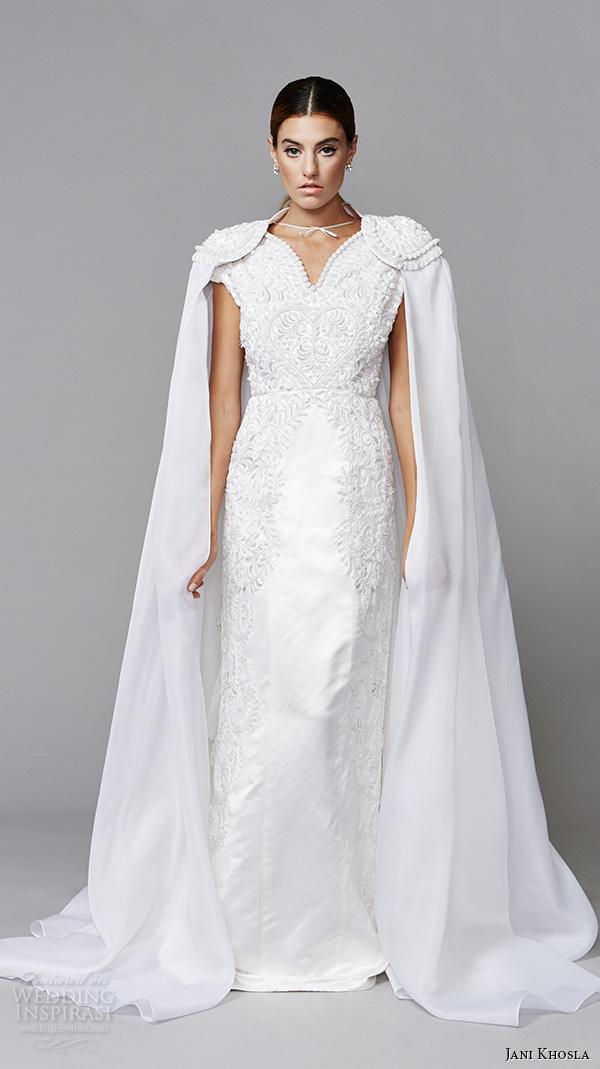 Jani khosla 2015 bridal evening dress v neck cap sleeves embroidered