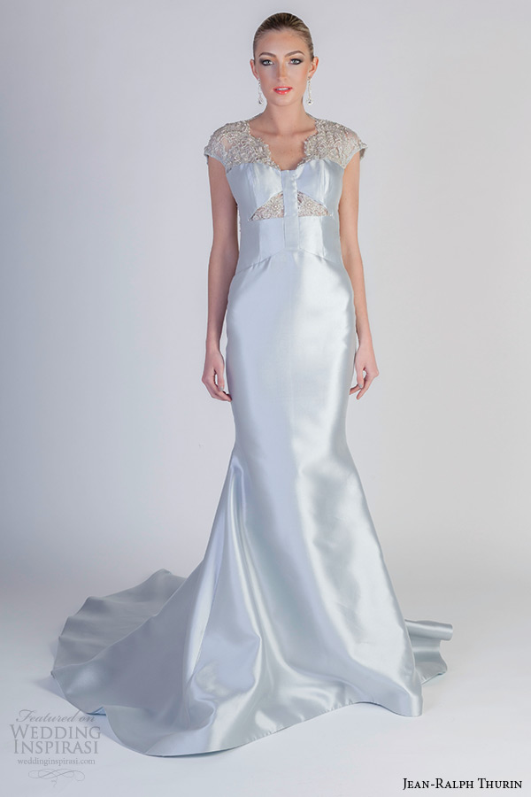 jean ralph thurin spring 2016 bridal cap sleeves fit to flare light blue mermaid wedding dress paris carver