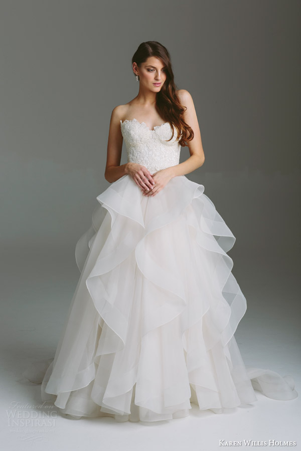 Wedding Dress Lace Bodice Tulle Skirt Karen Willis Holmes Bespoke Bridal Collection Inspirasi