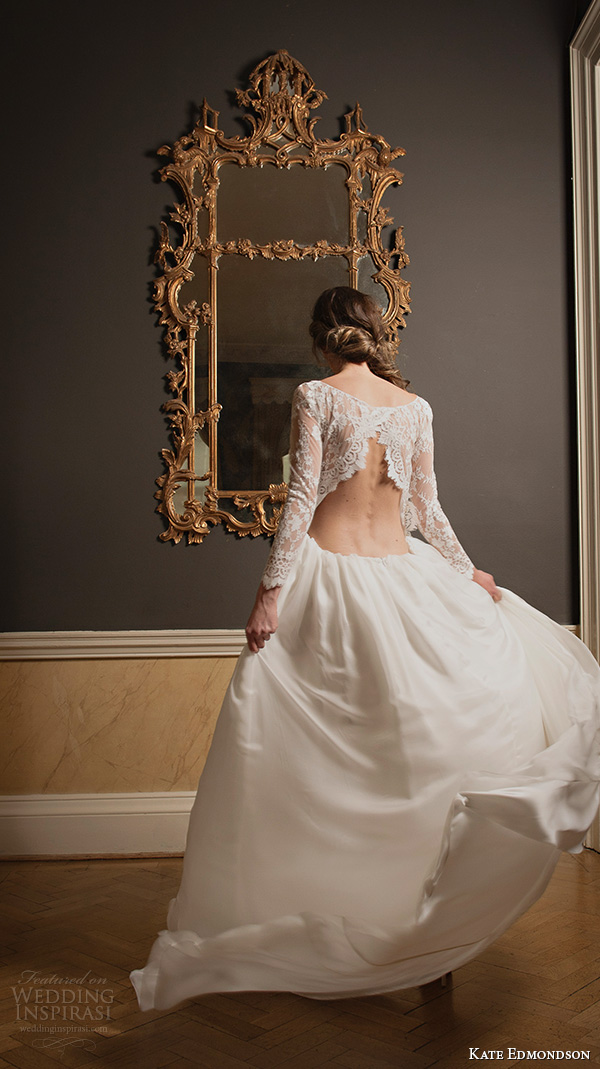 kate edmondson 2015 2016 couture bridal bateau neckline illusion lace long sleeves vintage column wedding dress back view