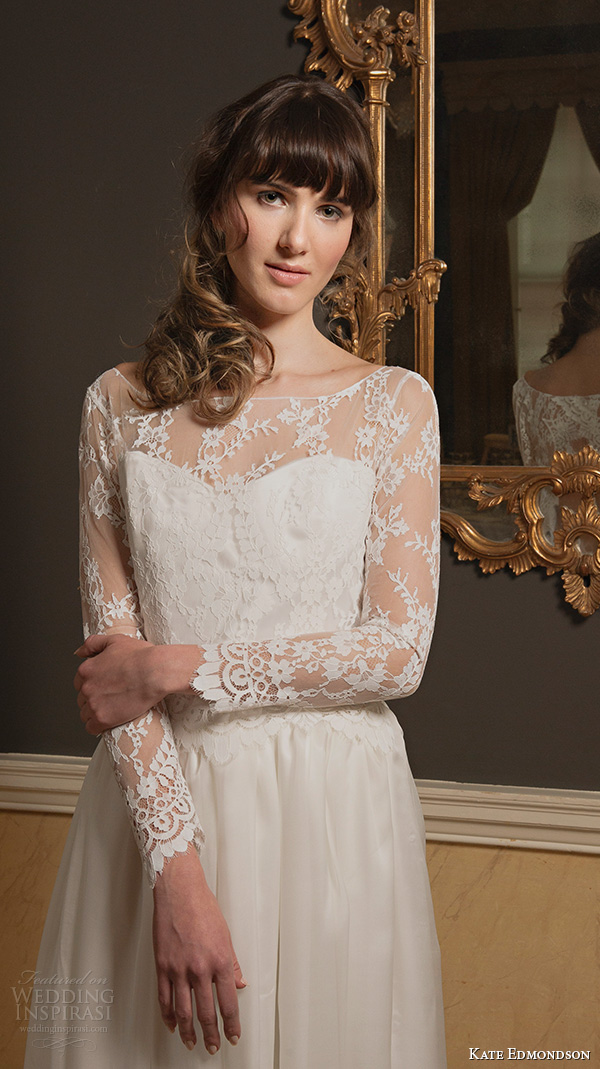 kate edmondson 2015 2016 couture bridal bateau neckline illusion lace long sleeves vintage column wedding dress close up