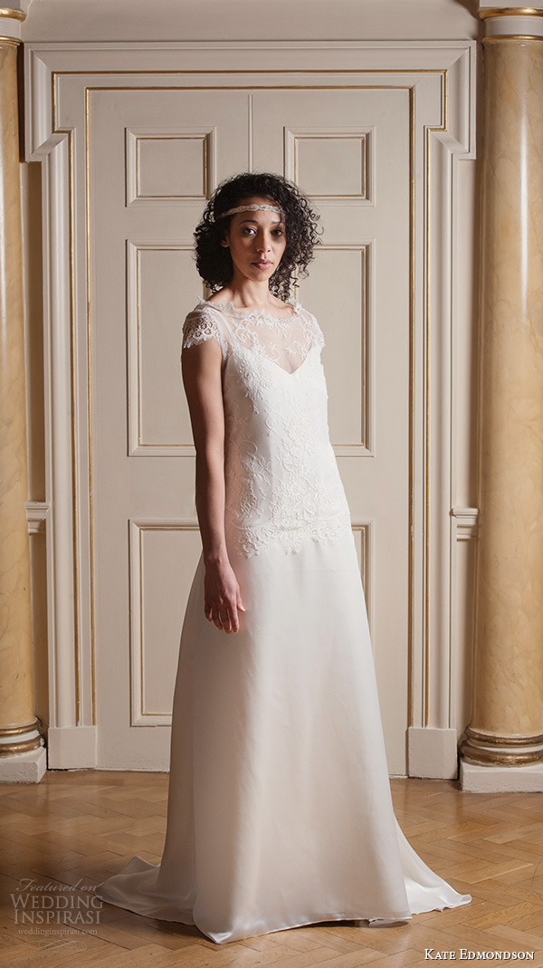 kate edmondson 2015 2016 couture bridal cap sleeves bateau illusion neckline lace bodice modified a line wedding dress head band