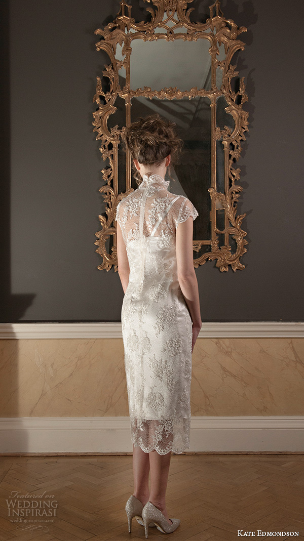 kate edmondson 2015 2016 couture bridal cap sleeves high neck lace overlay tea length sheath wedding dress with fascinator back view