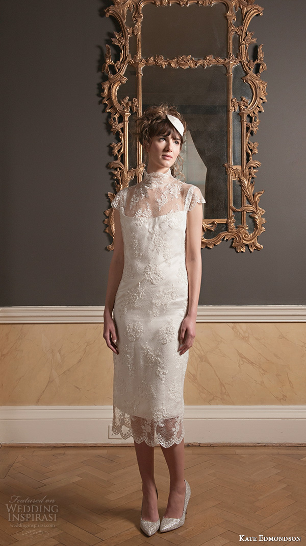 kate edmondson 2015 2016 couture bridal cap sleeves high neck lace overlay tea length sheath wedding dress with fascinator