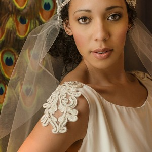 kate edmondson 2015 2016 couture bridal embroidery cap sleeves scoop neckline vintage empire wedding dress with veil close up