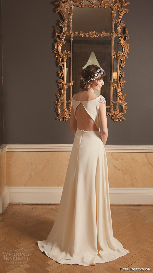 kate edmondson 2015 2016 couture bridal jewel cap sleeves bateau neckline vintage a line wedding dress jeweled belt head band back view