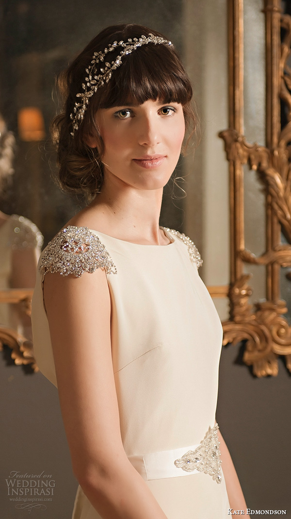 kate edmondson 2015 2016 couture bridal jewel cap sleeves bateau neckline vintage a line wedding dress jeweled belt head band close up