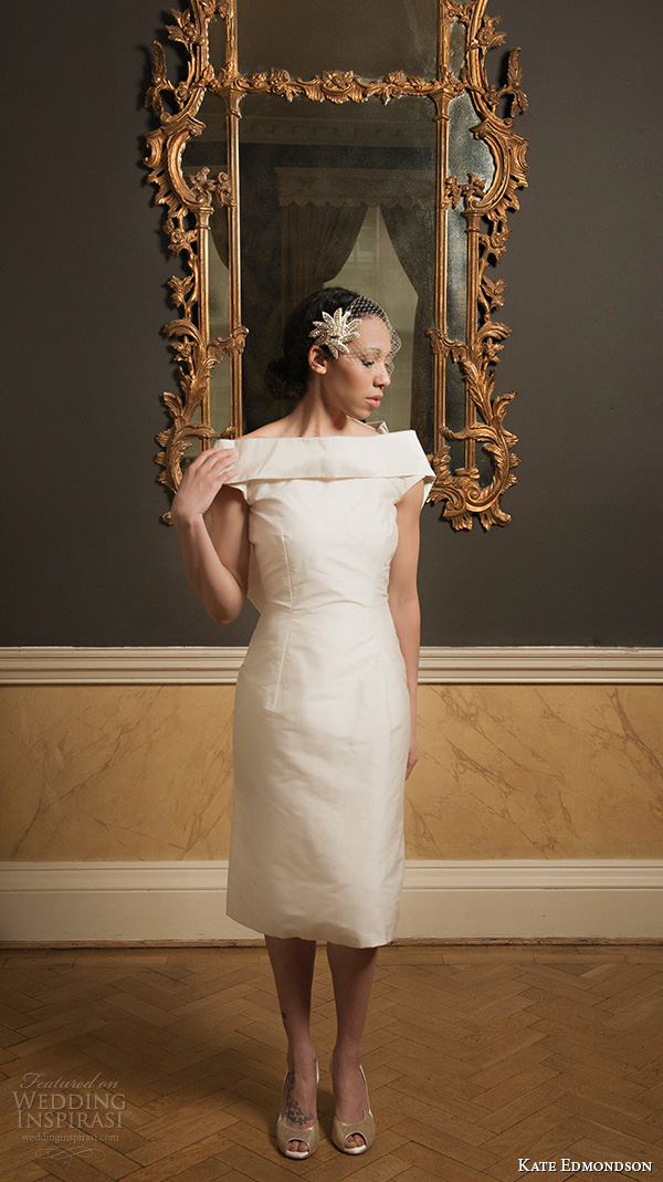 kate edmondson 2015 2016 couture bridal off the shoulder short sheath wedding dress fascinator netting
