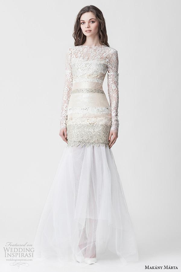 makany marta 2015 midsummer night dream bridal ready to wear collection bateau neckline long sleeves champagne bodice mermaid wedding dress