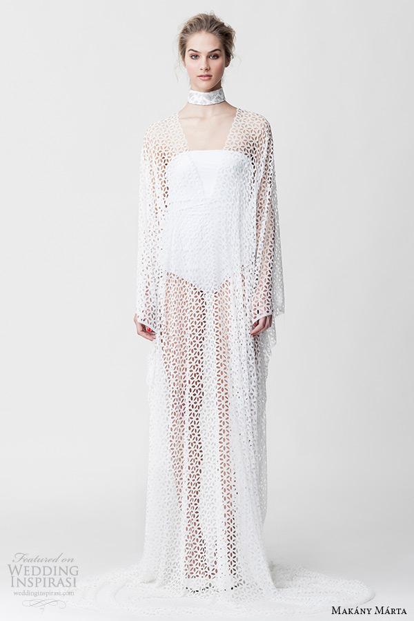 Makany Marta Midsummer Night Dream Bridal Ready To Wear Collection White Revealing Kimono Wedding Dress