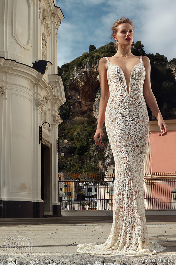 b2d619ee21 michal medina spring 2016 bridal beaded strap deep plunging v neckline flora  champagne sheath wedding dress