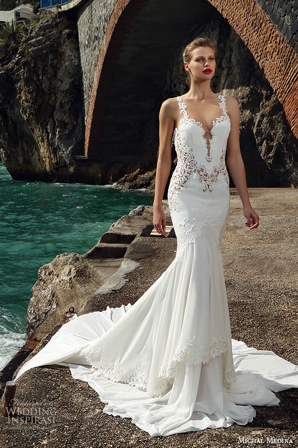 763d83bb1b ... champagne sheath wedding dress. michal medina spring 2016 bridal flora  spagetti strap plunging deep neckline low u cut back trumpet
