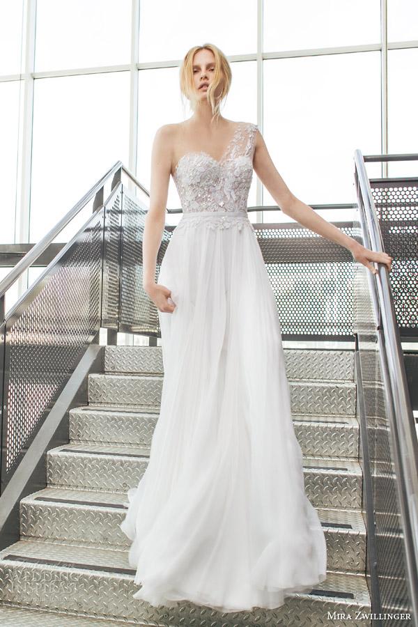 Mira zwillinger 2016 wedding dresses stardust bridal for Lace one shoulder wedding dress