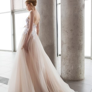 mira zwilinger bridal 2016 stardust fiona strapless blush layered tulle wedding dress white hand embroidered guipure flowers organza bow belt