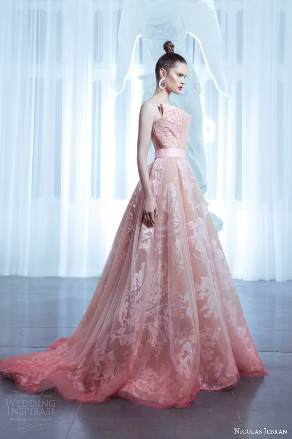 Nicolas jebran spring 2015 couture collection wedding for Pink ombre wedding dress