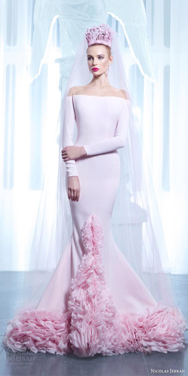 cd03a6a5b5 nicolas jebran spring 2015 couture pink off shoulder long sleeve mermaid  gown ruffle hem tiara