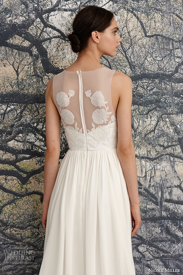 nicole miller spring 2016 bridal scoop neckline sleeveless flora embroidered sheath wedding dress savannah back closeup