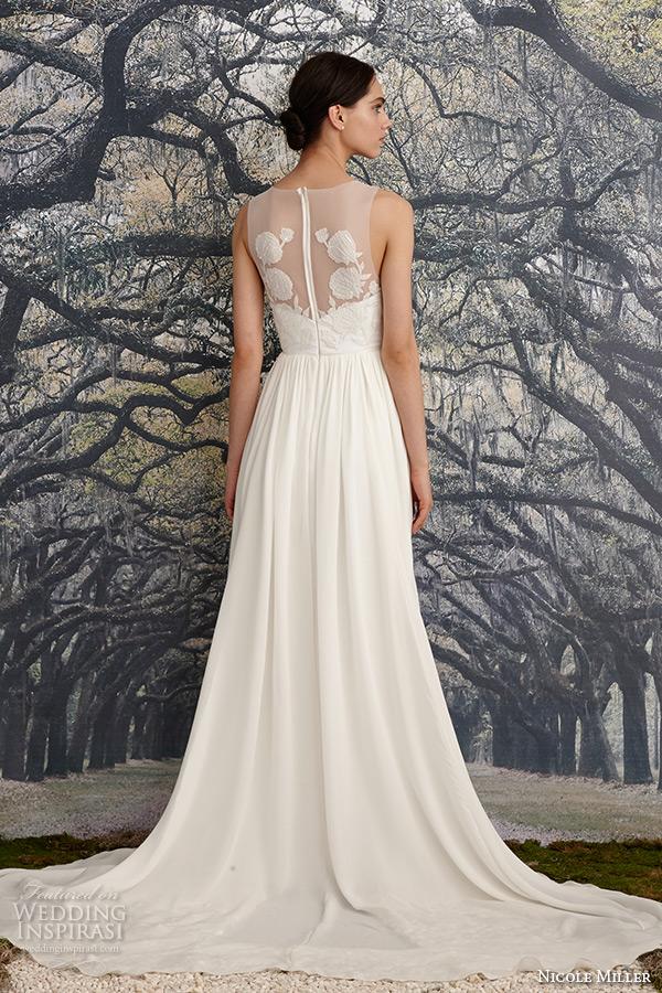 nicole miller spring 2016 bridal scoop neckline sleeveless flora embroidered sheath wedding dress savannah back