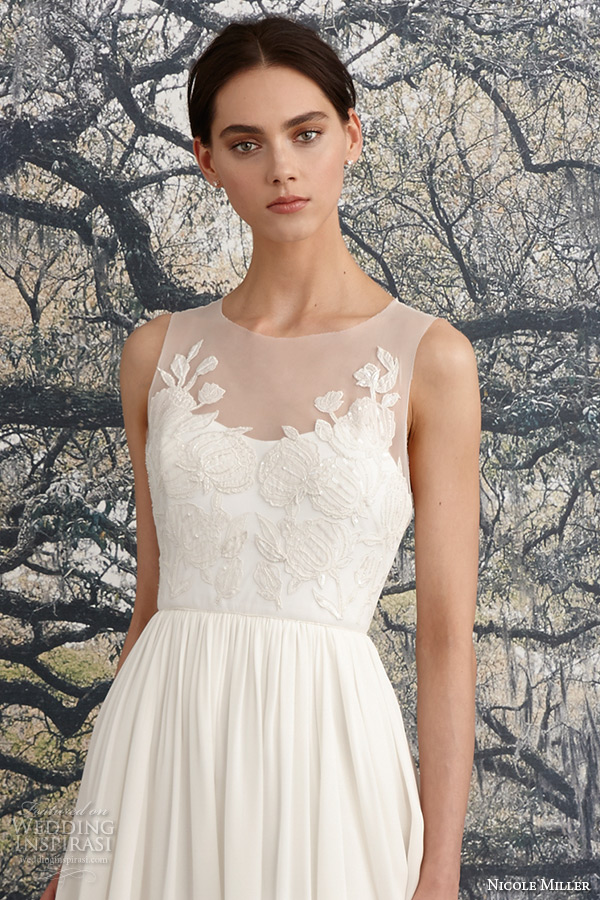 Nicole Miller Spring 2016 Bridal Scoop Neckline Sleeveless Flora Embroidered Sheath Wedding Dress Savannah Zoom
