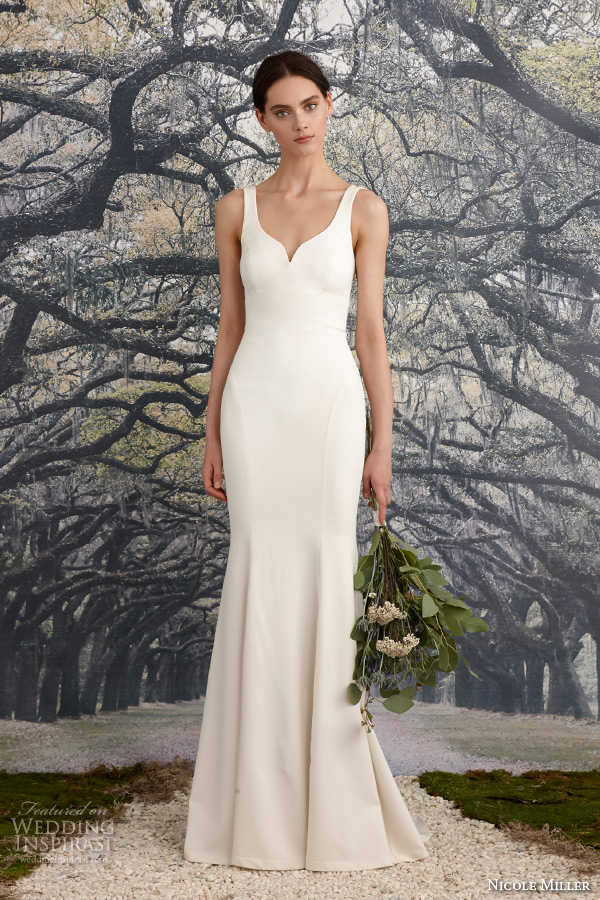 nicole miller spring 2016 bridal sleeveless strap stretch twill sheath wedding dress abigiail