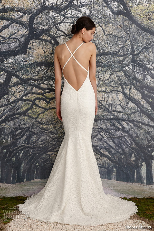 Nicole miller bridal spring 2016 wedding dresses wedding for Cross back wedding dress