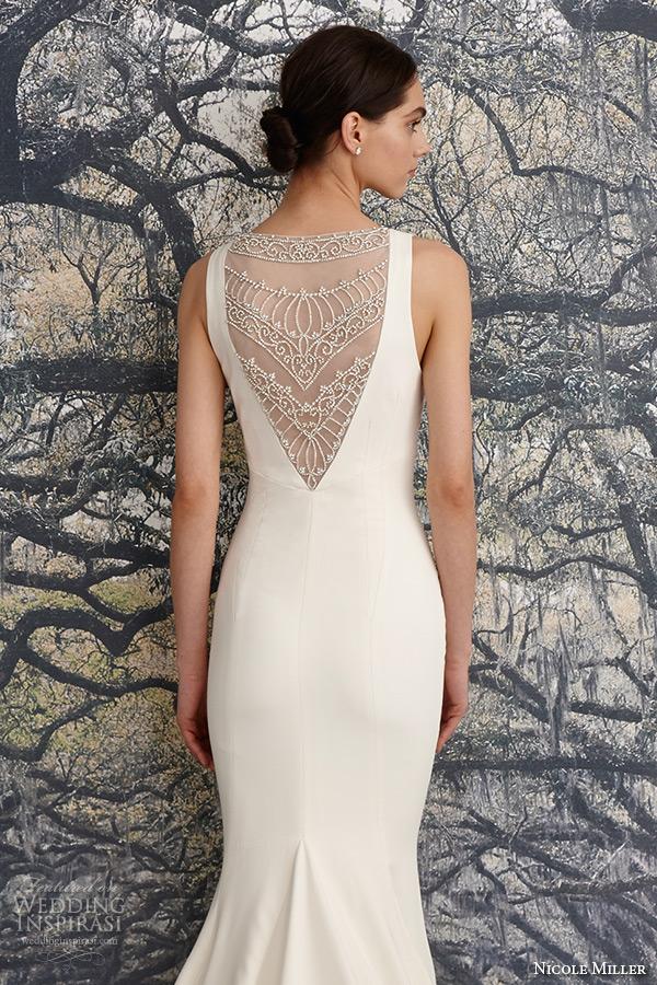 nicole miller spring 2016 bridal strap v neckline beaded corded lace sheath wedding dress jules back closeup