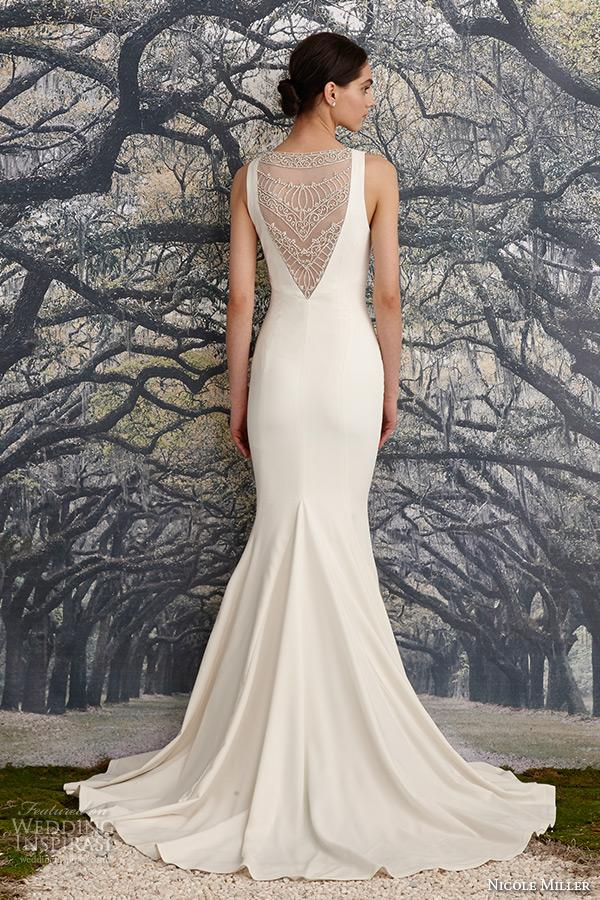 nicole miller spring 2016 bridal strap v neckline beaded corded lace sheath wedding dress jules back